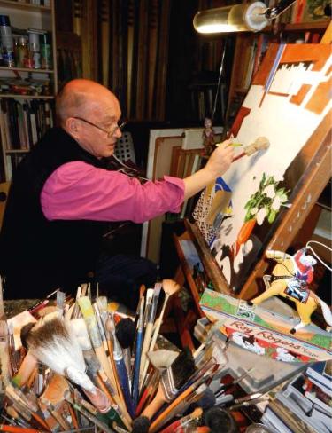 Jon Wealleans artist architect painting in studio in London